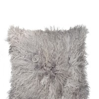 "Mongolian Genuine Sheepskin Pillow - 18"" x 18"" - Grey 