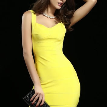 Spring Season Yellow Backless Bandage Dress
