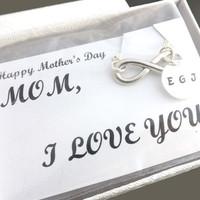 Mother's Day Gift - Personalized infinity bracelet  -  personalized initial - mother, wife, girlfriend gift