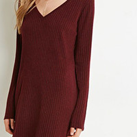 Burgundy V Neck Long Sleeve Knit Dress