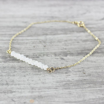 Rainbow Moonstone Bracelet, Gold Fill Bracelet, Gemstone Bar Bracelet, White Gemstone Bracelet, Gold Moonstone Bracelet, Bridal Bracelet