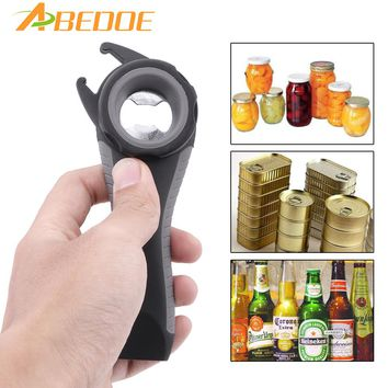 ABEDOE 1PS 5 in 1 Multi-function Stainless Steel plastic Can jar bottle open Can Opener Beer Kitchen Tool tools