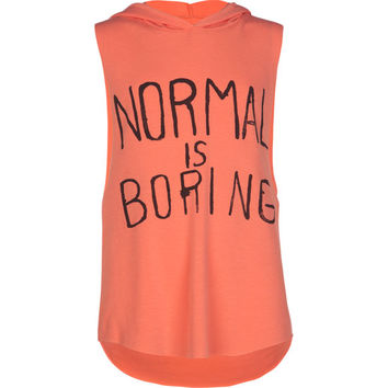 Full Tilt Normal Is Boring Girls Hooded Muscle Tank Coral  In Sizes