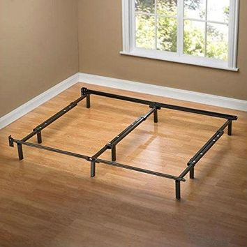 Queen Size 9-Leg Metal Bed Frame with Headboard Brackets & Center Support