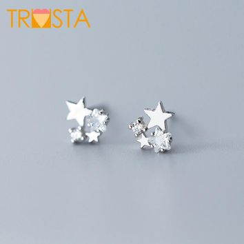 Trusta 100% 925 Solid Real Sterling Silver Jewelry 6mmX6mm Star With CZ Stud Earring For Teen Girl Friend Kid Lady XY1030