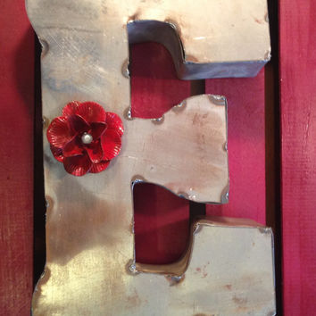 SALE - Tin Letter E made of reclaimed tin natural or painted with metal painted flower magnet