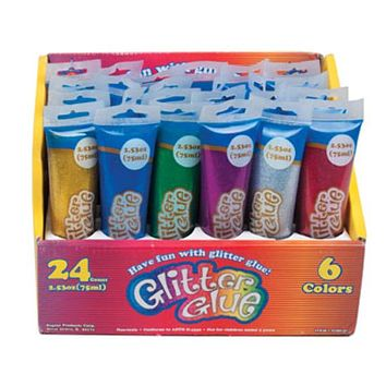 6 Assorted Colors Glitter Glue - 48 UNITS
