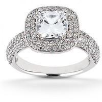 3ct tw Diamond Halo Engagement Ring in 14K White Gold
