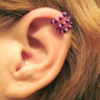 Ear Cuff  Beaded Cartilage Helix Cuff Non Piercing Seeded Triple Loops Pink Black
