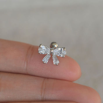 cartilage earring,stunning bow cartilage earring,tragus helix earrings,diamond earring
