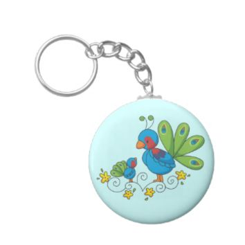 Mom and Baby Peacock Keychains