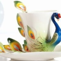 Claybox Hand Crafted Porcelain Enamel Graceful Peacock Tea Coffee Cup Set with Saucer and Spoon, Green