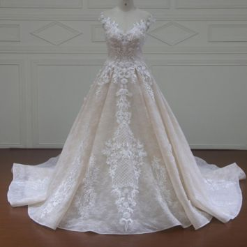 Sweetheart Lace A Line Wedding Dresses Cap Sleeve Lace Flower Beaded Vintage Bridal Gown