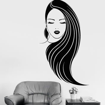 Vinyl Wall Decal Beautiful Girl Fashion Long Hair Beauty Salon Feather Stickers Unique Gift (1155ig)