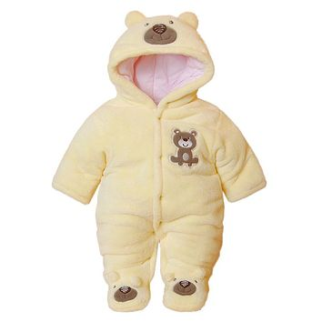 Cute Autumn Winter Cotton Baby Romper Fleece Long Sleeve Coverall Hooded Infant Jumpsuit Bear Down Snowsuit Babies Jumpsuits