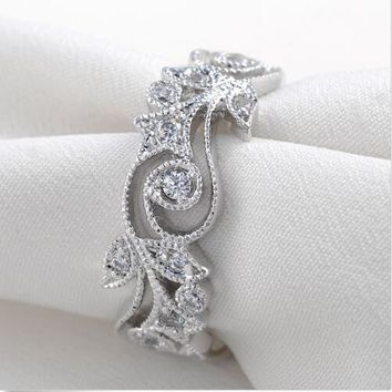 Swarovski Crystal High quality Authentic 925 Sterling Silver Flower Stone Rings With Pave Diamonds Wedding Rings