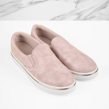 Lea Faux Snakeskin Slip On Sneakers