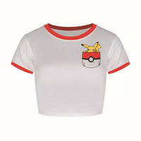summer autumn pokemon go fashion print cropped t shirt cartoon summer women tops
