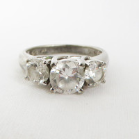 Vintage Sterling Silver CZs Engagement Ring, Multi Stone, Cocktail Ring Size 7