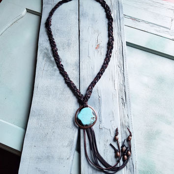 Blue Turquoise Chunk on Braided Leather Necklace 228P