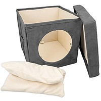 Kitty Zen Den Cat Hideaway - Best Used For A Comfortable Covered Cat Bed, Warm Cat Mat and Kitty Bed. 100% Pet Friendly and Soft- Connects To Cat Tunnel