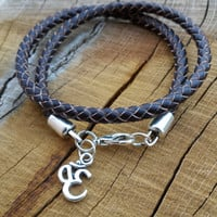 Leather Bracelets, Leather OM Charm Bracelet, Dark Brown Braided Leather Cord Double Wrap Bracelet, Gifts For Men, Leather Wrap Bracelet