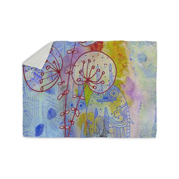 """Marianna Tankelevich """"Composition with Bunnies in Blue"""" Abstract Rabbits Sherpa Blanket"""