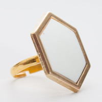 Gold Geometric Ring | Hexagon Ring | Adjustable Button Ring | Gold Ring