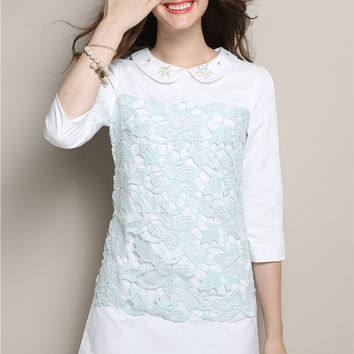 Peter Pan Collar Half Sleeve Lace Embroidered A-Line Mini Dress In White