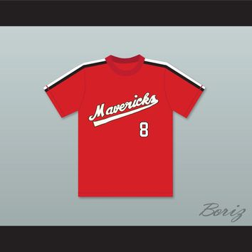 Frank Peters 8 Portland Mavericks Red Baseball Jersey The Battered Bastards of Baseball