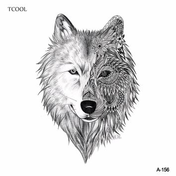 TCOOL Wolf Temporary Tattoo Sticker Animal Tattoos for Women Sexy Body Art Waterproof Men Hand Fake Tatoo Paper 9.8X6cm A-156