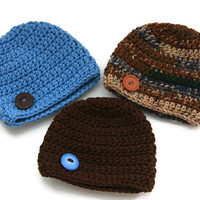 Camo baby boy hats blue brown green set of three crochet newborn 0-3 month photo prop ready to ship