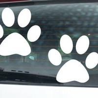 2 PAW PRINT vinyl decal car truck wall STICKERS puppy dog cat kitten