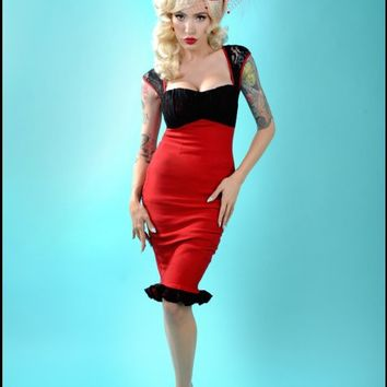 Holiday Edition - Micheline Dress in Red with Black Lace | Pinup Girl Clothing