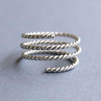 Adjustable ring, Sterling silver textured spiral ring, trinity ring stack, rustic modern ring, gifts for her