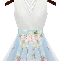 Mesh Pleated Floral Dress - OASAP.com