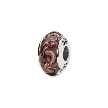 Purple Swirl Hand-Blown Glass Bead & Sterling Silver Charm, 13mm