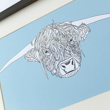 Highland Cow Print, Heilan' Coo drawing, Scottish art print, Scotland cow, Highland cattle poster