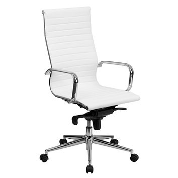 High Back Ribbed Upholstered Leather Executive Swivel Office Chair