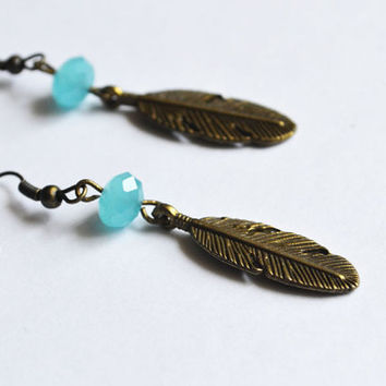 Bohemian Feather Earrings. Native American Inspired Jewelry. Hippie Feather Jewelry.Sale
