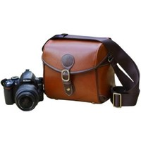 Usmile Vintage Look Britpop DSLR Camera Bag for Canon Nikon Sony Pentax Red Brown