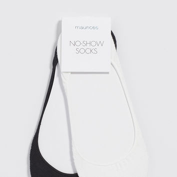 no-show socks in black and white - 2 pack