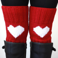 Knit boot cuffs, Heart legwarmers, Red boot cuffs, Heart Knit cuffs, Red boot toppers, Love Heart Red Knee socks, Short shoe sock legwear