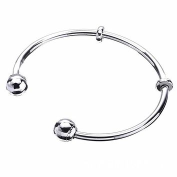 Classic Sterling Silver 925 open bangle diy jewellery charms bracelets & bangles with stoppers sleek bracelets femme bridal Gift