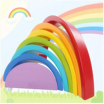 Kids Wooden block Colorful Rainbow Wooden Buliding Blocks Toy Set Early Childhood Education Toys High Quality SA990071