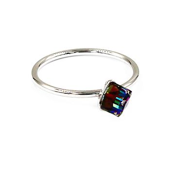 square crystal silver ring