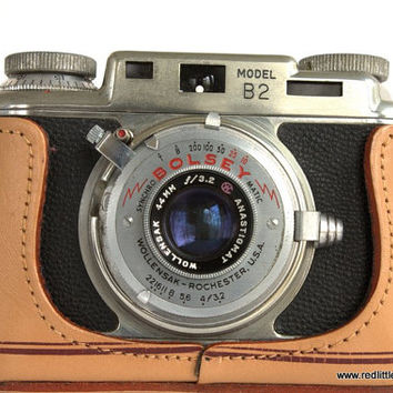 Vintage Camera- Bolsey Model B2 with Leather Case 35mm Film with Flash, Rangefinder, Photographers, Collectors, Photography, Home Decor,