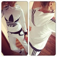 Adidas Fashion Long Sleeve Sport Gym Set Two-Piece Sportswear Hoodie