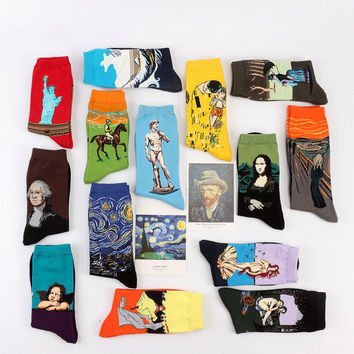Fine art cotton socks, adult's cotton blend socks with Renaissance painting, Starry Night, Birth of Venus, Big Wave, The Scream, Angel