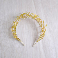 Gold Sprig - bridal headband, golden yellow style wedding, party wear